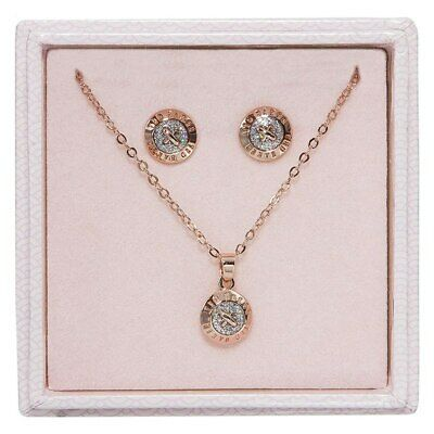Ted Baker Rose Gold Necklace Earrings Emillia Mini Button Jewellery Gift Set