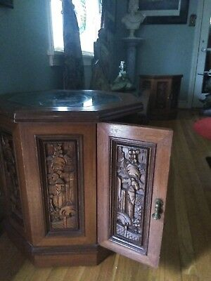Asian teak wood hand carved coffee table set of 3