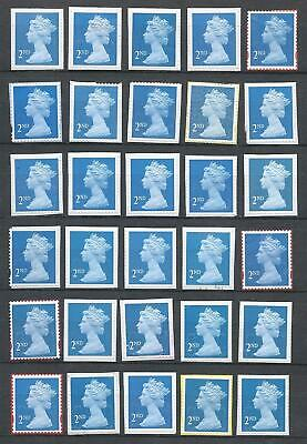 100x  Royal-Mail 2nd Class-blue unfranked security stamps on Paper