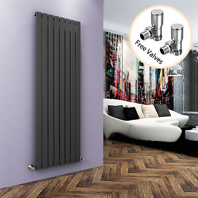 Anthracite Vertical Designer Radiator Single Flat Panel Rads 1800 x 608 W/ Valve