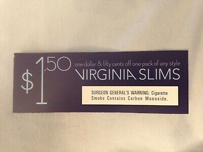 (1) One Virginia Slims Coupons -$1.50 off one pack of any style - Expire 3/31/20