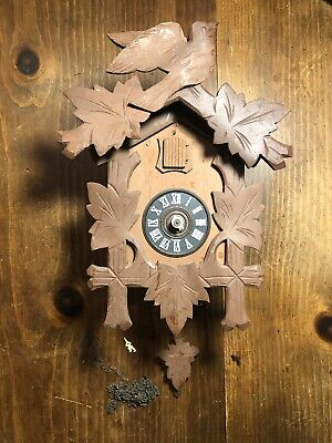Antique German Coo Coo Clock Wood Germany For Parts Not Working