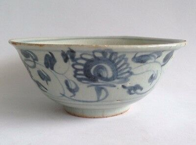 China Early Ming Dynasty 15th Century Period Blue White Floral Motif Bowl