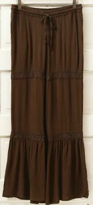 Matilda Jane Welcome Home Big Ruffles Hello Lovely Brown Pants Women's M Med NWT