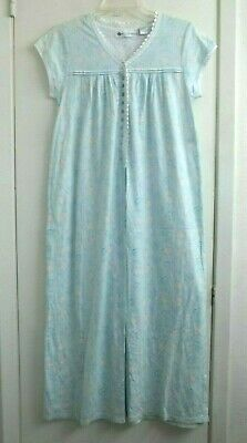 EILEEN WEST Cap Sleeve Nightgown Sz Small Blue Pink Floral Cotton Knit Lace