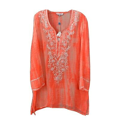 BLUE ISLAND Women's Sheer Embroidered Neon Coral Tunic Cover-up Size Medium