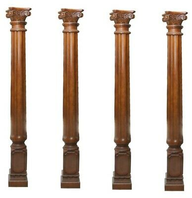Set/4 Salvaged Heavy-Duty Fluted Corinthian Columns W/ Acanthus Leaves Superior