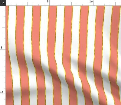 Pink And Gold Stripe Coral Girls Fabric Printed by Spoonflower BTY
