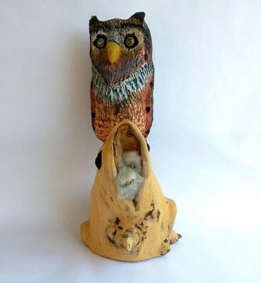 LG 14 Hand Carved Driftwood Mother Owl Statue with Baby Owls Folk Art Sculpture