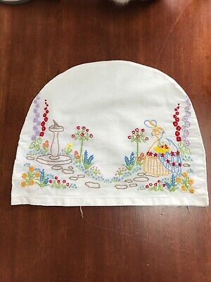 True VINTAGE 1930s 1940s Hand Embroidered Tea Cotton Cosy Cover