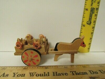 Vintage Wooden German Democratic Republic Hand Painted Wood Cart With Horse Mini