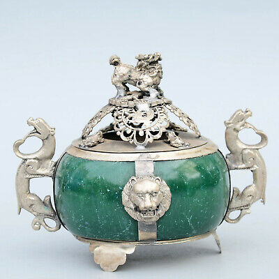 Collectable China Old Miao Silver Armour Agate Hand-Carved Myth Dragon Censer