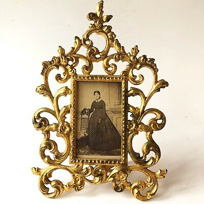Ornate Gold Picture Frame Scroll Metal Easel Victorian Antique With Photo