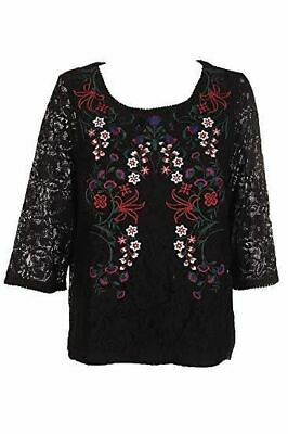 Charter Club Black Red Floral Embroidered Lace Scoop Neck Blouse L