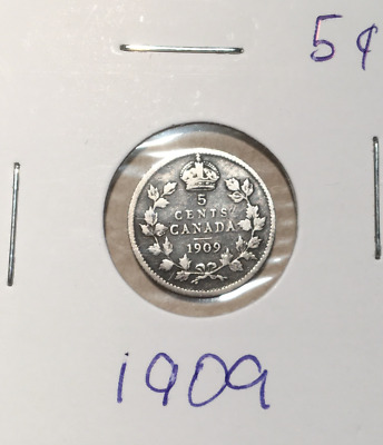 1909  Canadian Silver  - Canada 5 cents