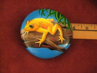 "Hand Painted River Rock Stone ""Golden Poison Frog"" OOAK Painted Rock Art By Kat"