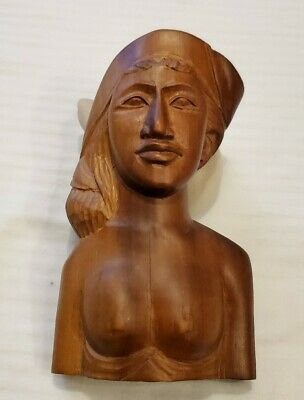"""Vintage Hand Carved WOOD WOMAN FROM BALI, INDONESIA 4"""" Tall X 3 1/4"""" Wide Nude"""