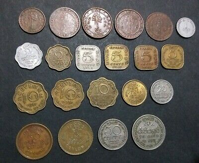 Ceylon lot of 21 different old coins pre-Sri Lanka