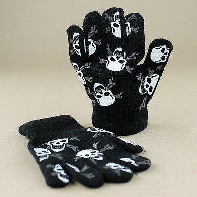 Kids Boys Jolly Roger Pirate Skull Crossbones Black Knitted Gloves
