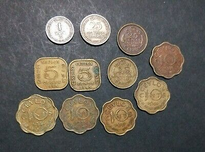 Ceylon lot of 11 different old coins pre-Sri Lanka