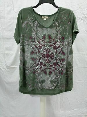 Style & Co V Neck Floral Graphic Tee Green LARGE