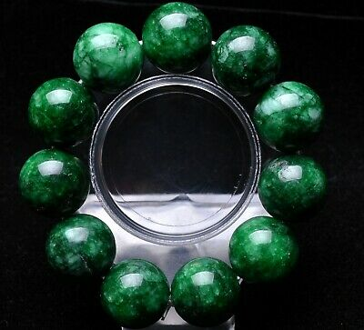20mm Green 100% Natural JADE Jadeite Round Gemstone Beads Bangle Bracelet