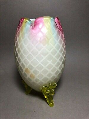 Victorian Mother of Pearl Rainbow Egg Shape Vase