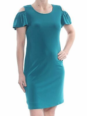 JM Collection Womens Teal Cold Shoulder Ruffled Sheath Dress Petite Small