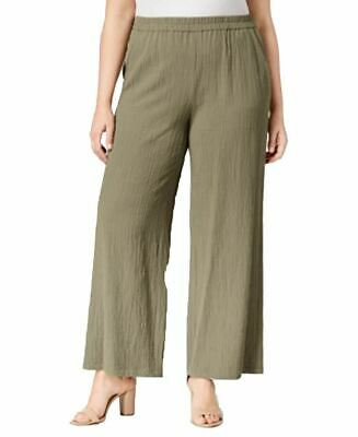 JM Collection Plus Size Textured Wide-Leg Pants Olive Spring 3X