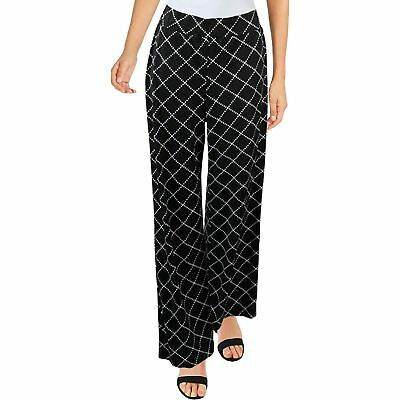 NY Collection Womens Petites Print Pull On Wide Leg Pants B/W PM Black