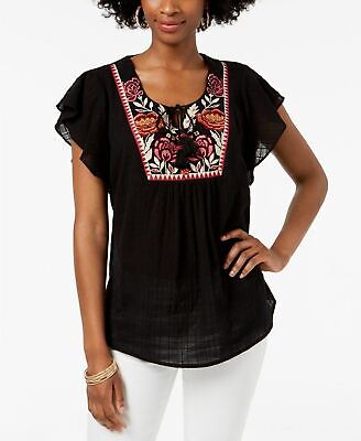 Style & Co Embroidered Peasant Top Black XL