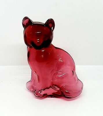 Fenton Very Rare Hollow Cranberry Sitting Cat, Dave Fetty 1994 (1 of 2)