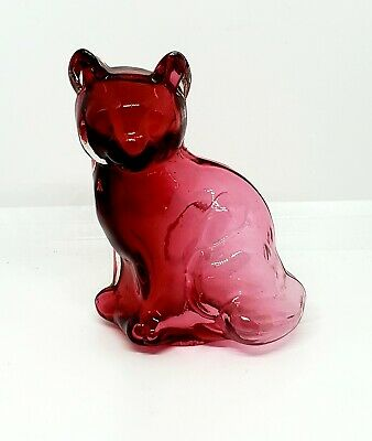 Fenton Very Rare Hollow Cranberry Sitting Cat, Dave Fetty 1994 (2 of 2)