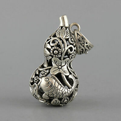 Collect China Old Tibet Silver Hand Carve Blooming Lotus & Fish Delicate Pendant