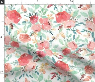 Baby Girl Nursery Floral Watercolor Pink Fabric Printed by Spoonflower BTY