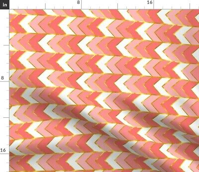 Pink And Gold Chevron Girls Coral Stripe Baby Fabric Printed by Spoonflower BTY