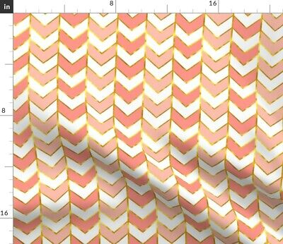 Pink And Gold Chevron Girls Coral Herringbone Fabric Printed by Spoonflower BTY