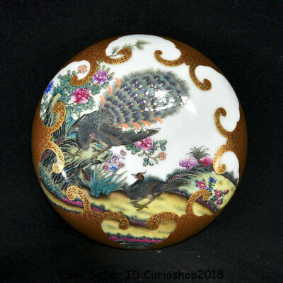 """6.6"""" Qianlong Marked China colour enamels Porcelain peacock Birds Jewelry box"""