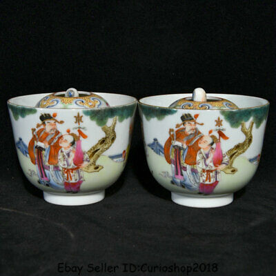 "3.4"" China Famille Rose Porcelain 3 Longevity God Fu Lu Shou Life Bowl Cup Pair"