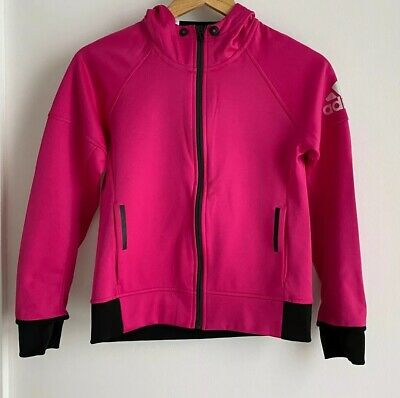As New Adidas Pink Girls Hooded Zip Jumper. Size 11 - 12. Collect Or Post