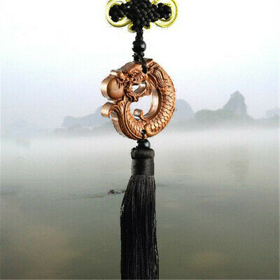 Wood Carved Chinese Dragon Fengshui Statue Car Pendant Amulet Sculpturer Jewelry