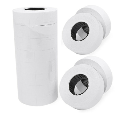 10 Large Rolls White Price Gun Tags Stickers For Double Line Price Gun Mx6600
