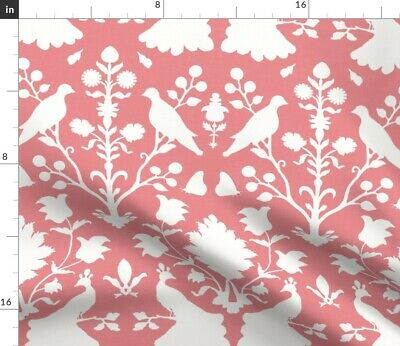 Birds Peacocks Damask Floral Pink Coral Girls Fabric Printed by Spoonflower BTY
