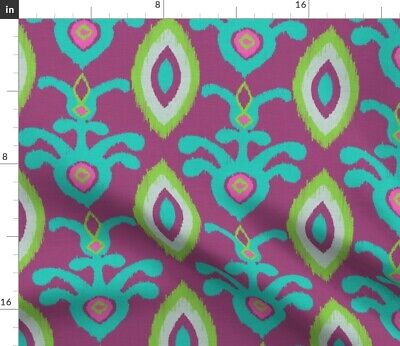 Ikat Elephant Turquoise Purple Violet Green Fabric Printed by Spoonflower BTY