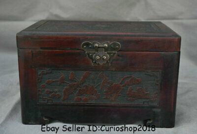 """10"""" Old Chinese Rosewood Wood Dynasty Flower Birds Jewelry box Chest furniture"""