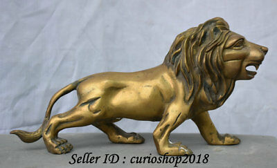 "11"" Chinese Brass FengShui Wild Foo Fu Dog Guardion Lion Animal Statue Sculpture"