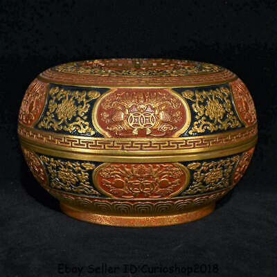 """6.4"""" Qianlong Marked Old China Porcelain Gilt Dynasty Peach Round Jewelry Box"""