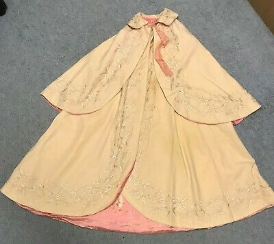 Original Victorian baby's/child's cape, silk-lined and embroidered,