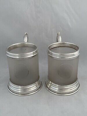 Pair Of Silver & Glass Tankards 1937 London GOLDSMITHS & SILVERSMITHS Sterling
