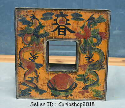 """7.2"""" Antique Old China Bronze Painting Dynasty 2 Dragon Jewelry box jewel case"""